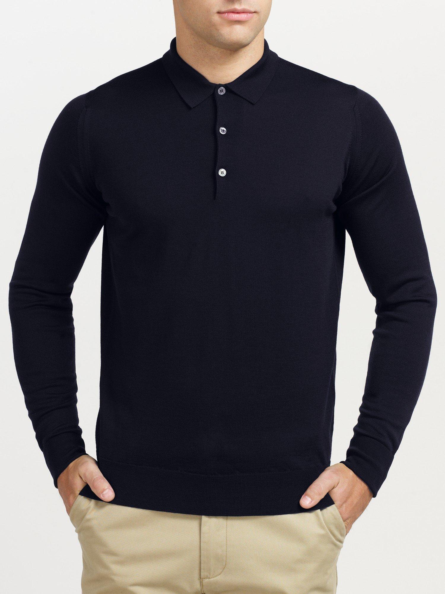 John smedley cotswold merino wool long sleeve polo shirt for Long sleeve wool polo shirts