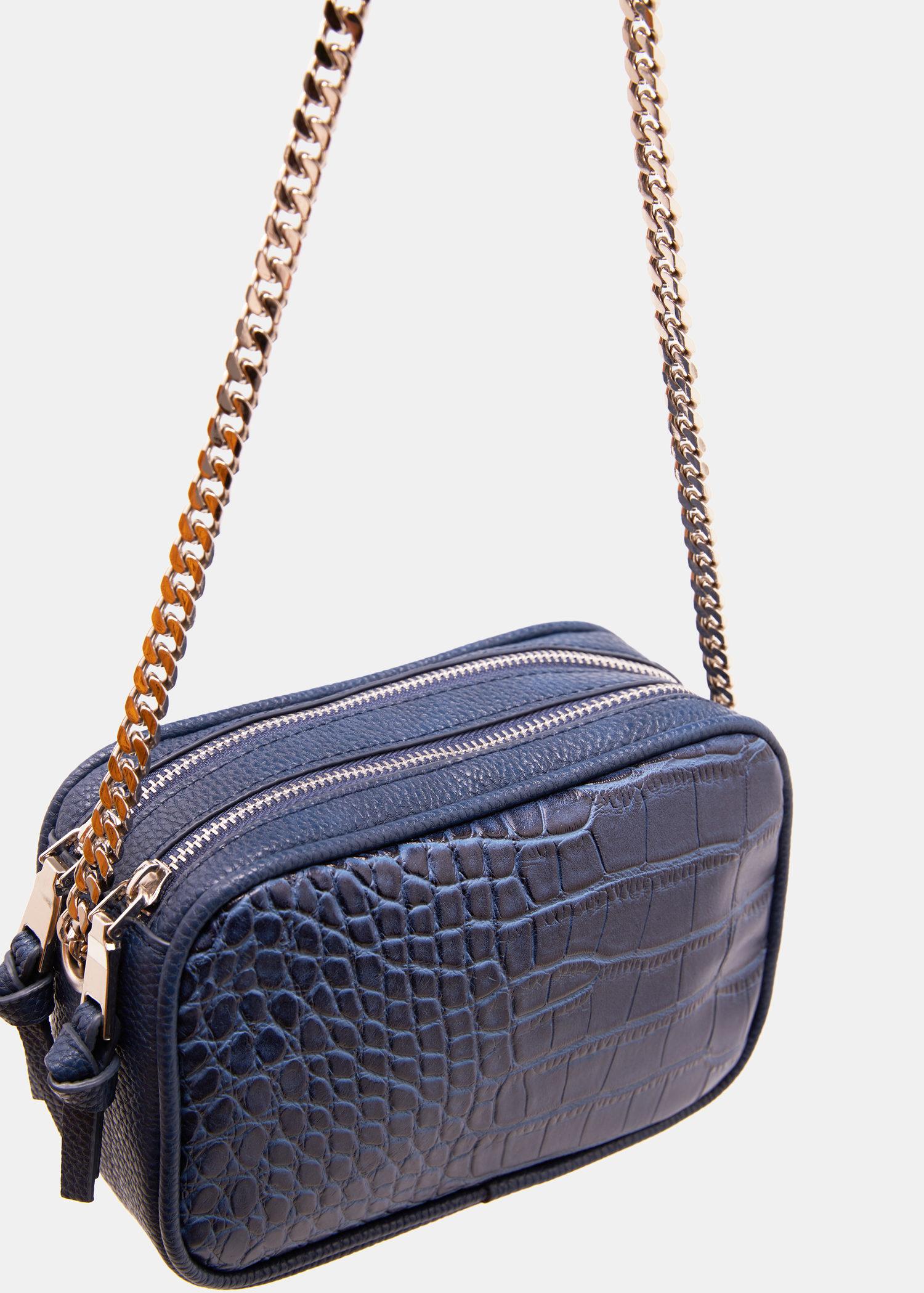 94cac8ba96958 Lyst - Violeta By Mango Croc-effect Cross Body Bag in Blue