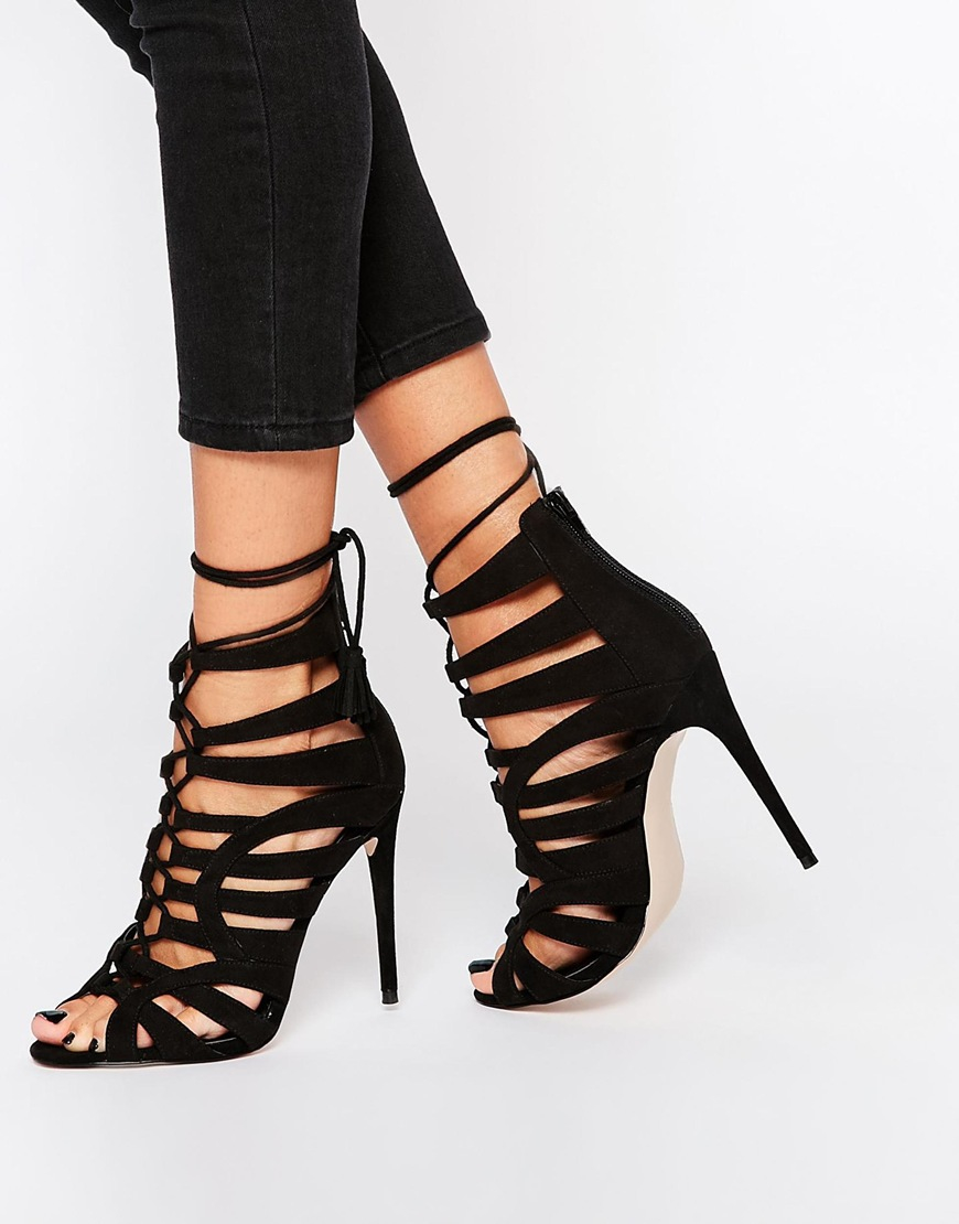 c66e5f8e534b Lyst - ASOS Harper Wide Fit Lace Up Heeled Shoes in Black