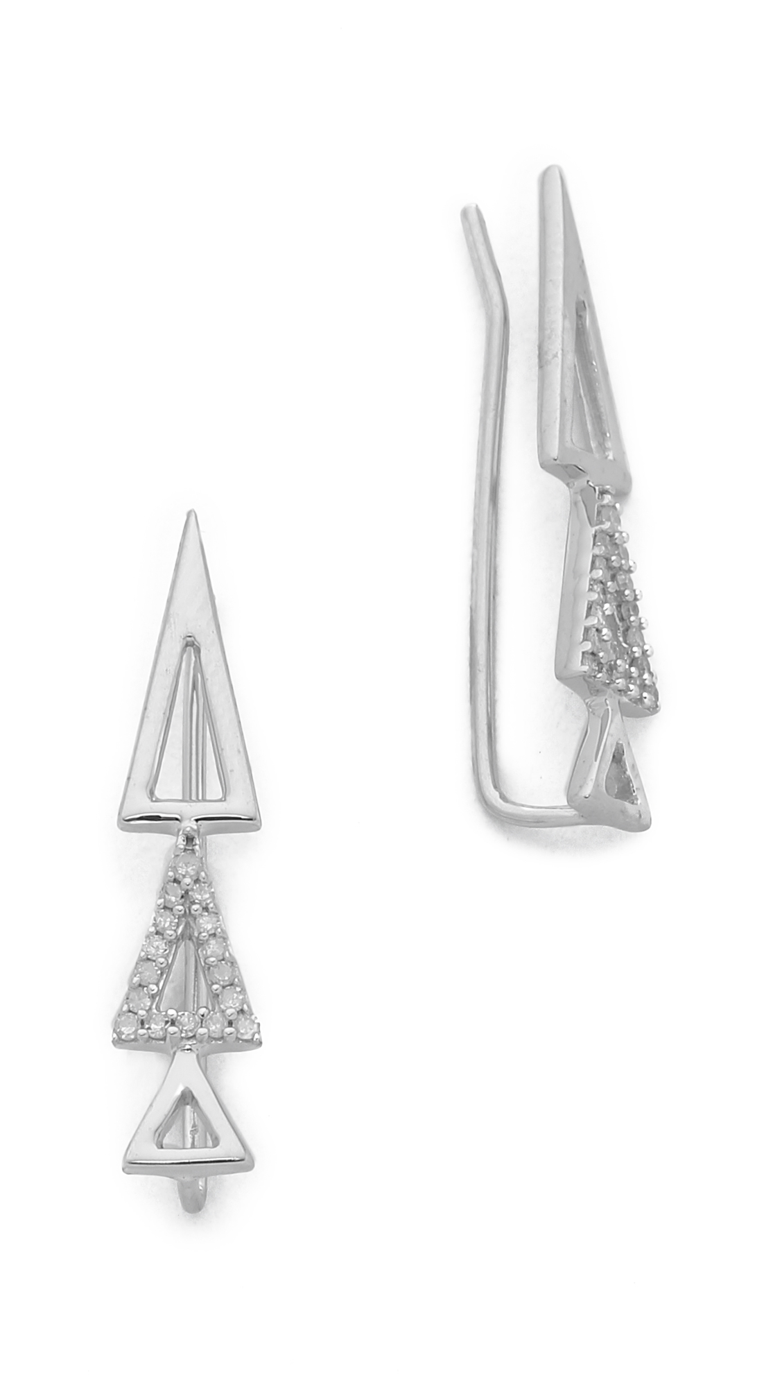 Adina Reyter Open Pave 3 Triangle Wing Earrings Silver