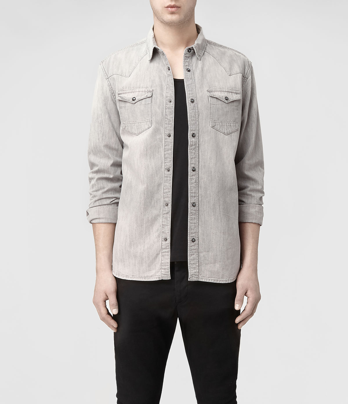 969e0b47cd Lyst - AllSaints Cannon Ls Shirt in Gray for Men
