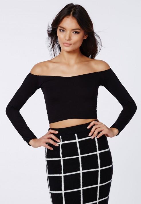 ee7d050d0b7d7 Lyst - Missguided Carrisa Long Sleeve Jersey Bardot Crop Top Black ...