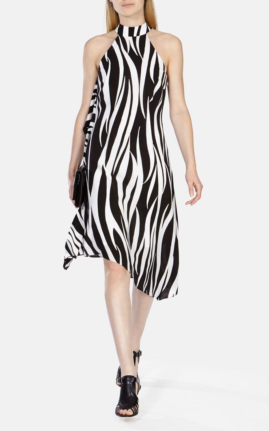 millen zebra print asymmetric midi dress in animal