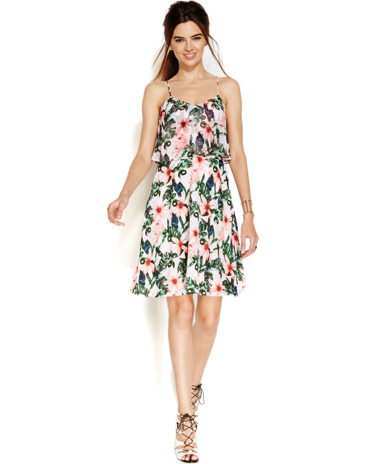Lyst Vince Camuto Floral Print Popover Dress