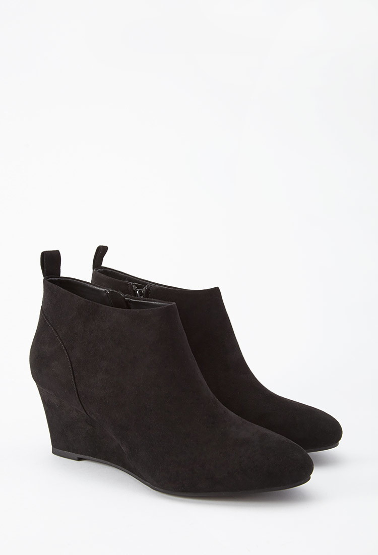 forever 21 plus size faux suede wedge booties wide in