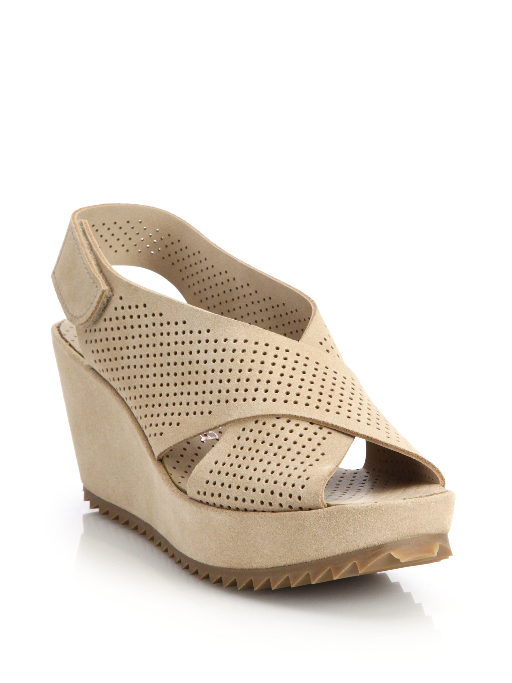 c12a3c49fab9 Lyst - Pedro Garcia Frigg Suede Crossover Wedge Sandals in Natural