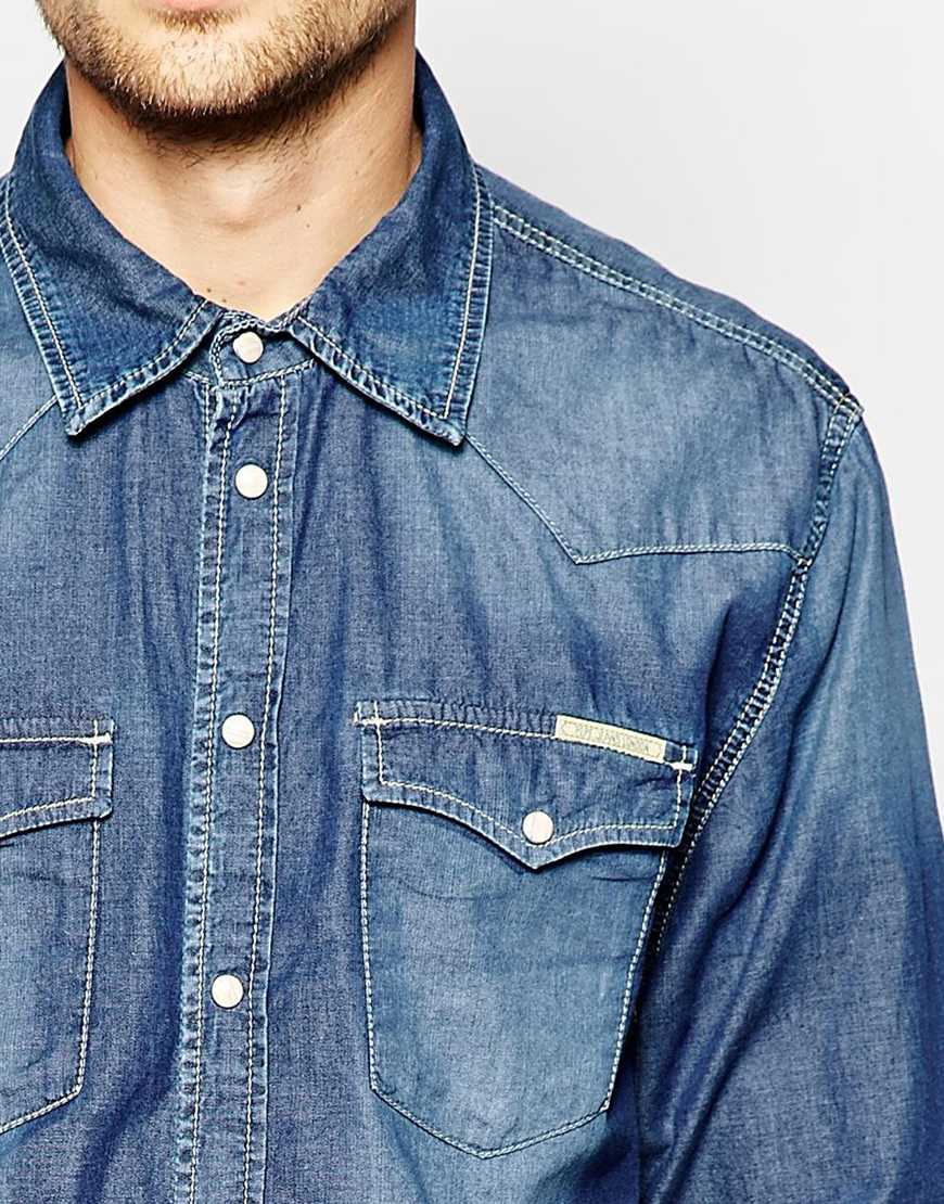 c0bad4de93a Pepe Jeans Pepe Denim Shirt Carson Western Slim Fit Mid Wash in Blue ...