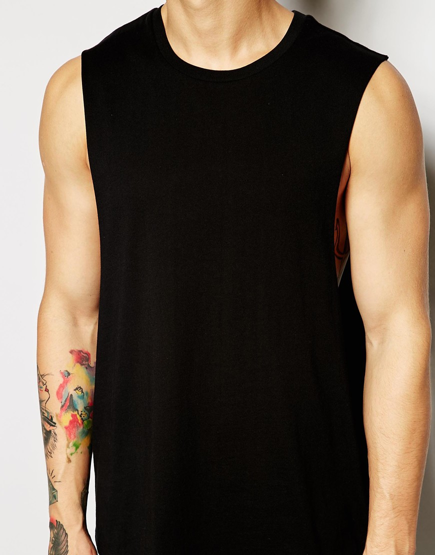 Lyst Asos Sleeveless T Shirt With Dropped Armhole In