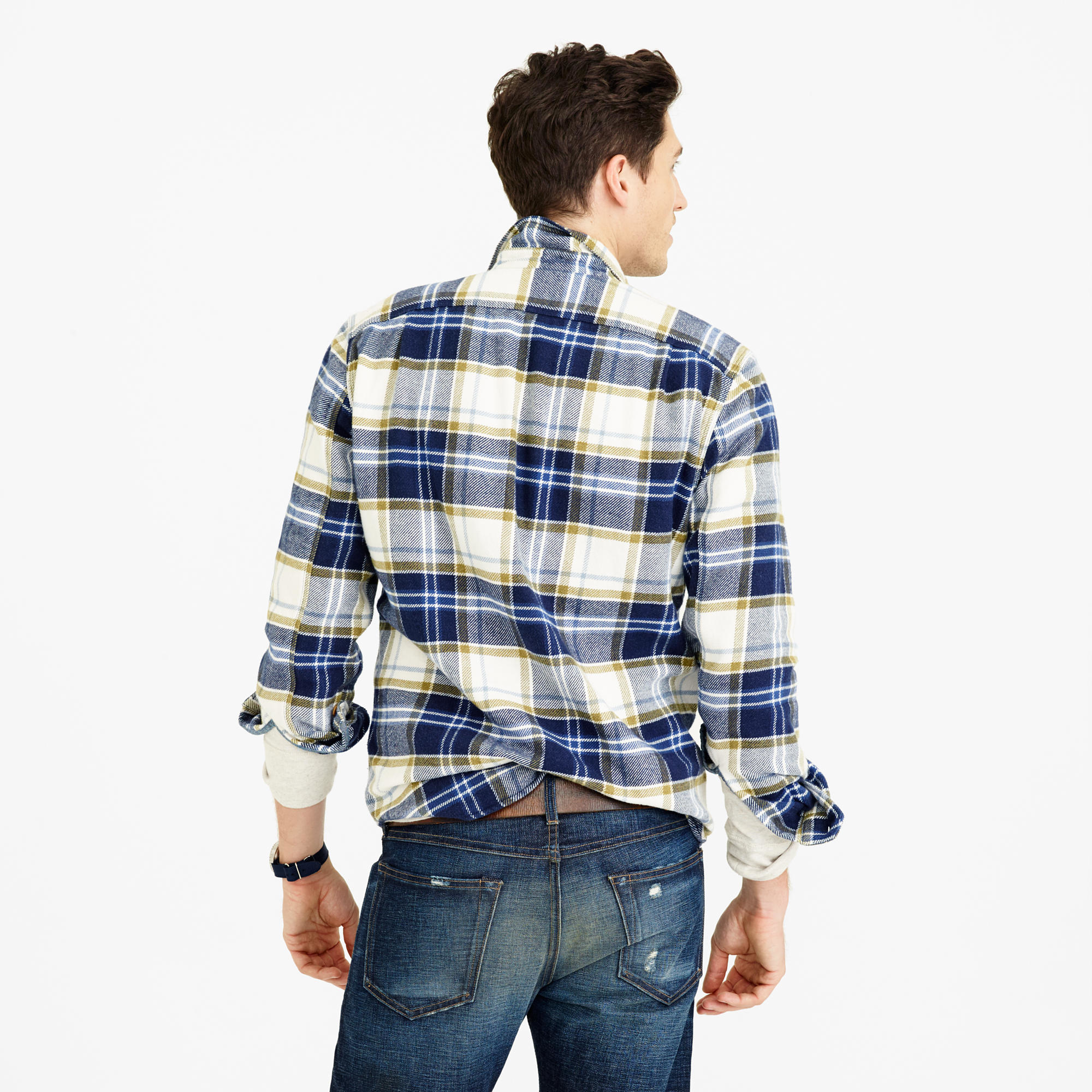 7398250173732 Lyst - J.Crew Wallace   Barnes Heavyweight Flannel In Classic Blue ...