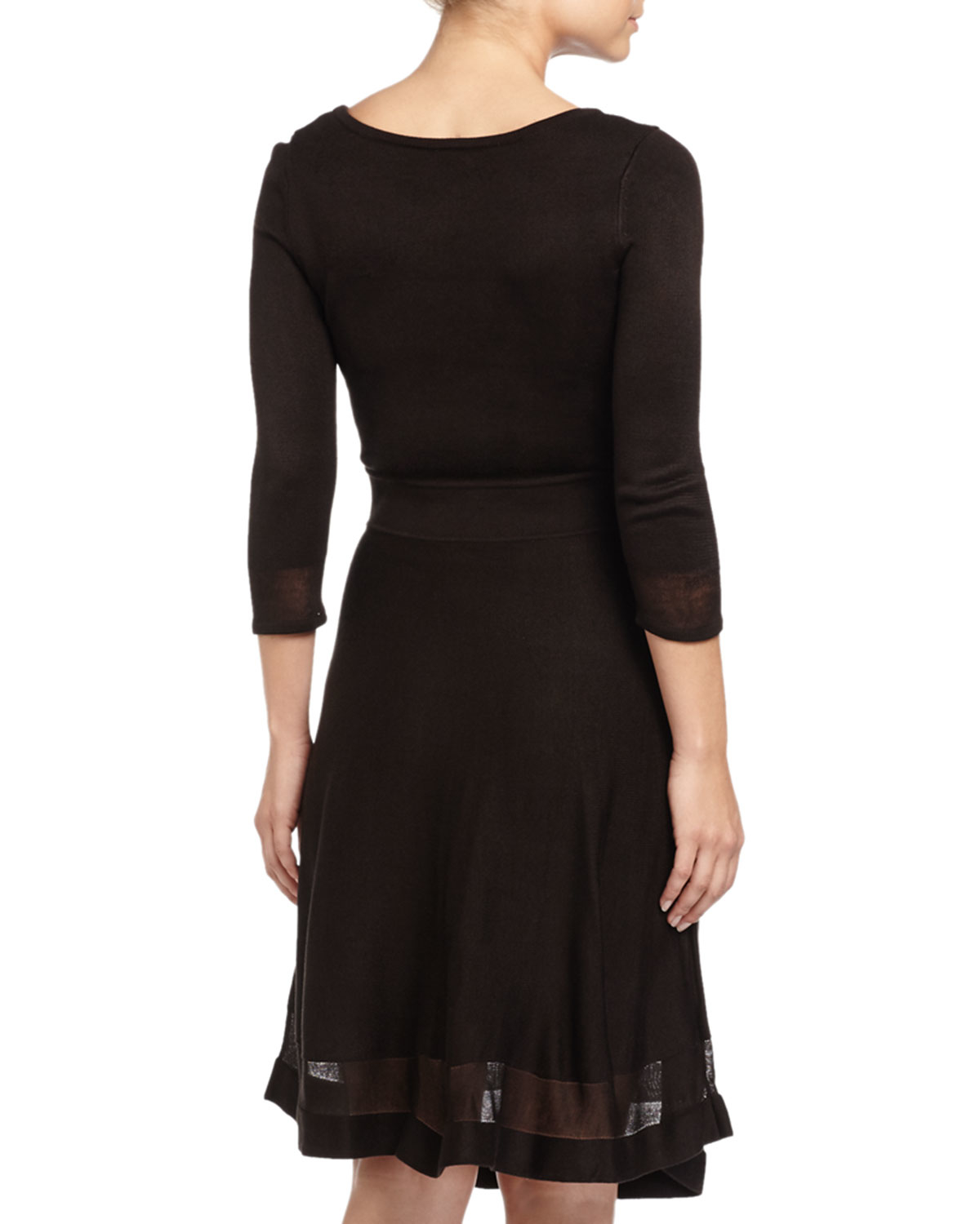 Marc New York 3 4 Sleeve Fit And Flare Sweater Dress In