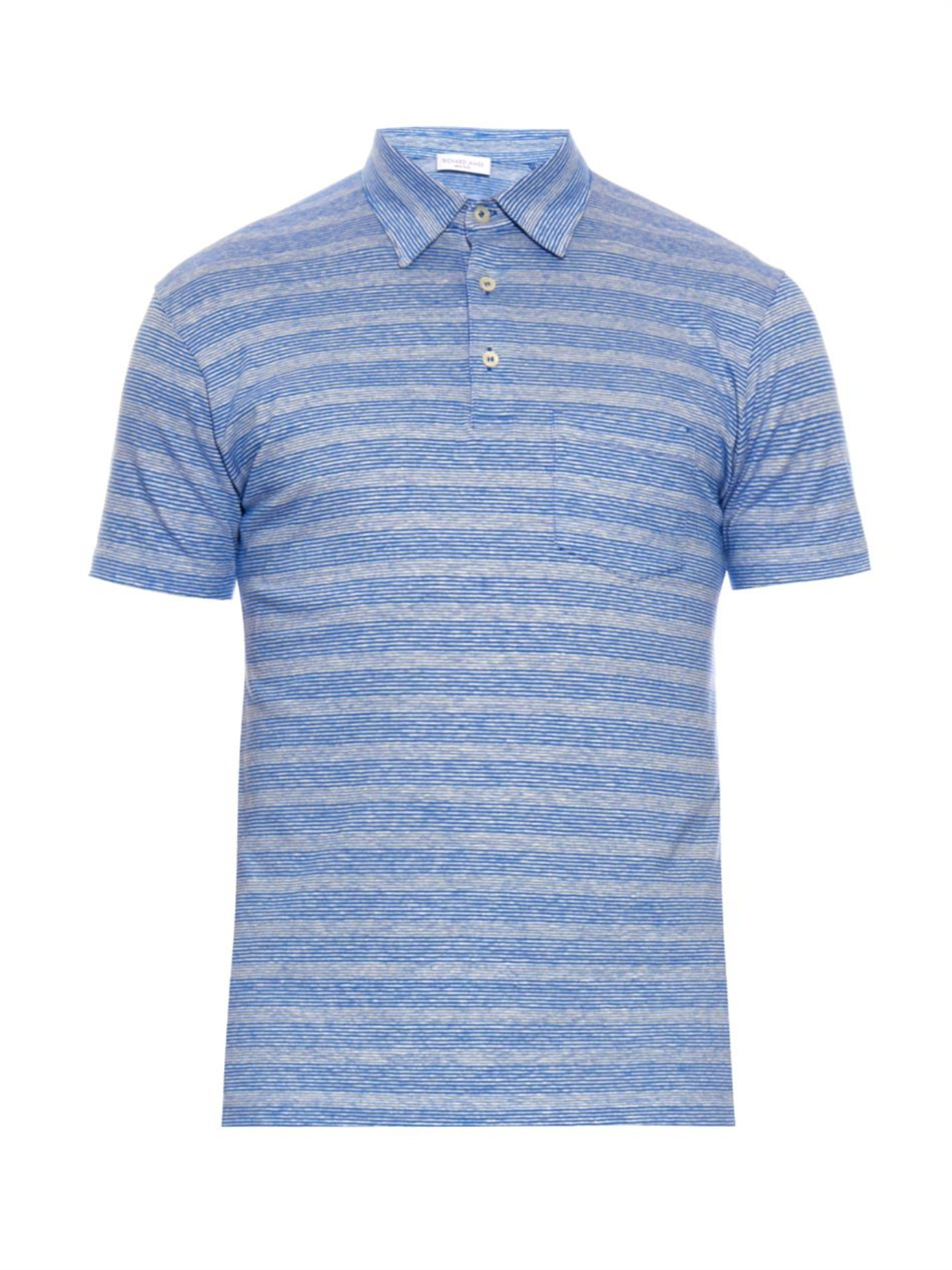 Richard James Striped Linen And Cotton Blend Polo Shirt In