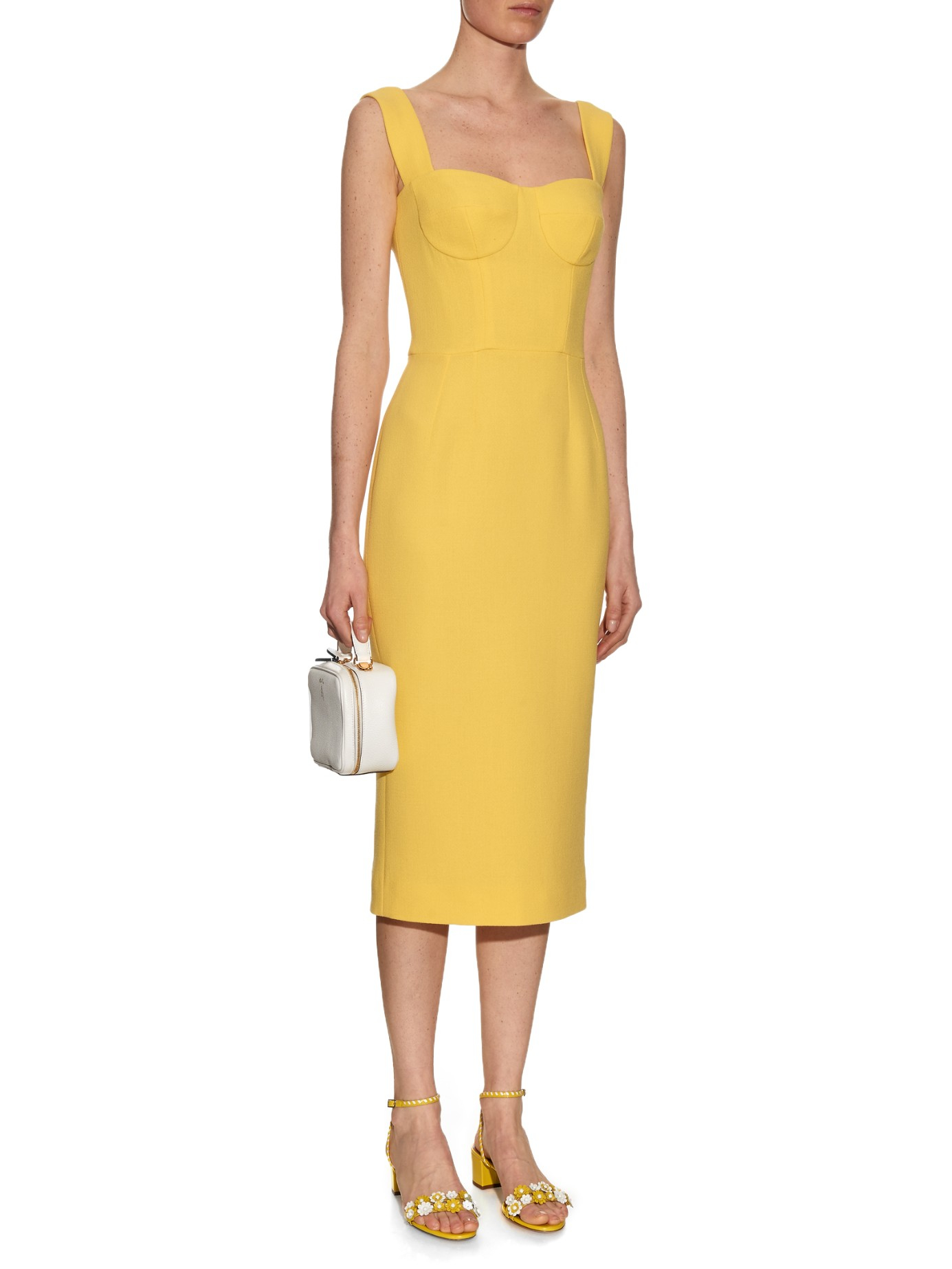 e7976c01 Dolce & Gabbana Yellow Open-Neck Wool and Crepe-Blend Dress in Blue ...