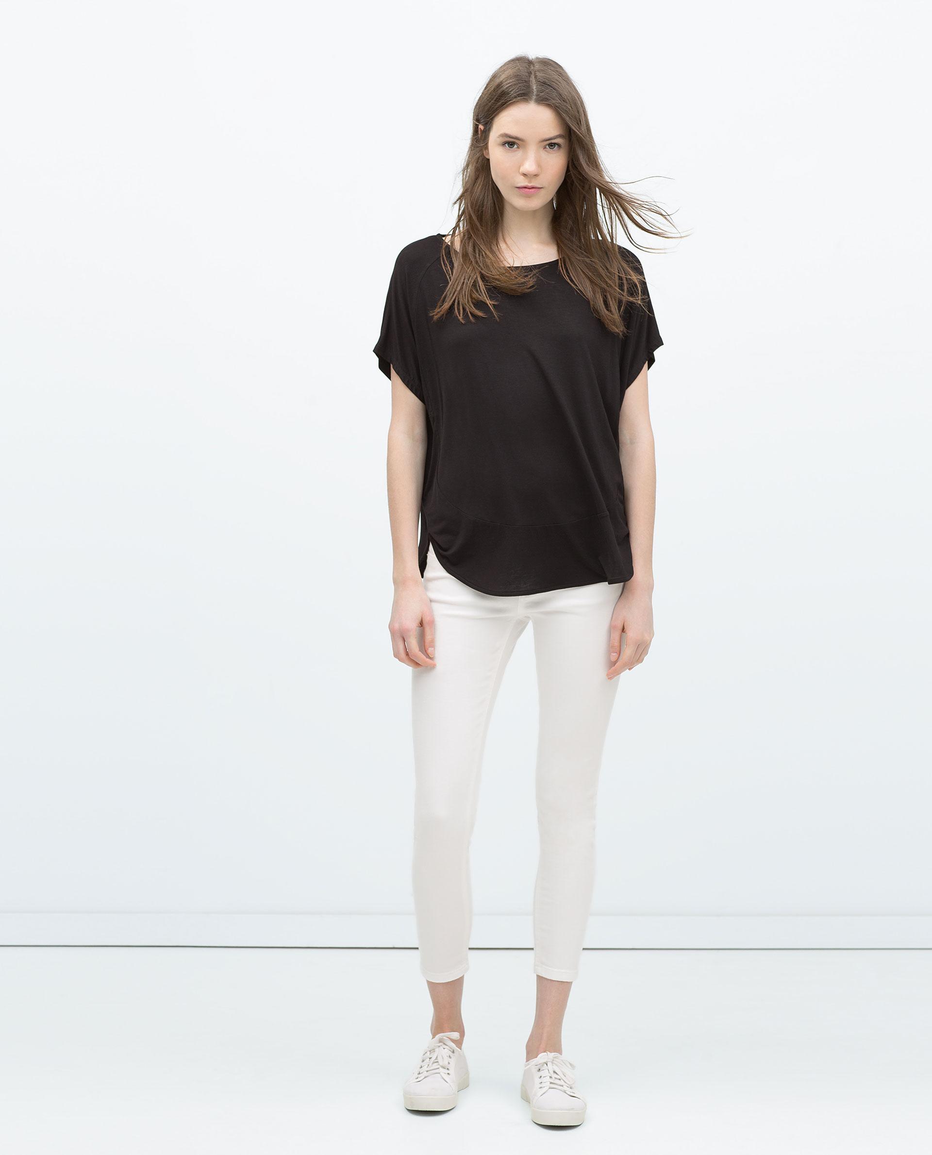 Zara short sleeve striped t shirt in black lyst for Zara black t shirt dress