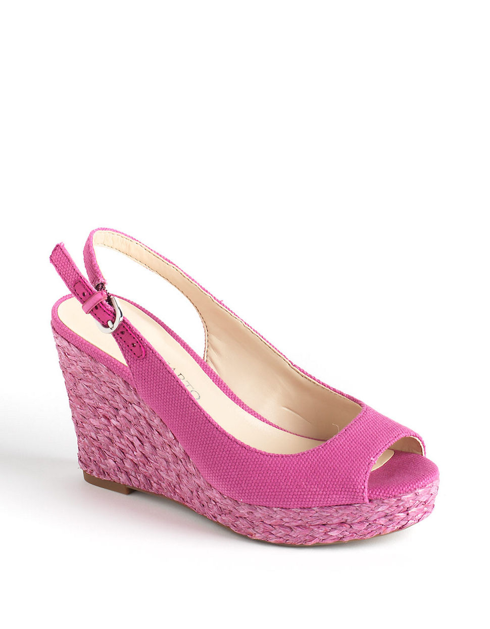 franco sarto rory canvas slingback wedge sandals in pink