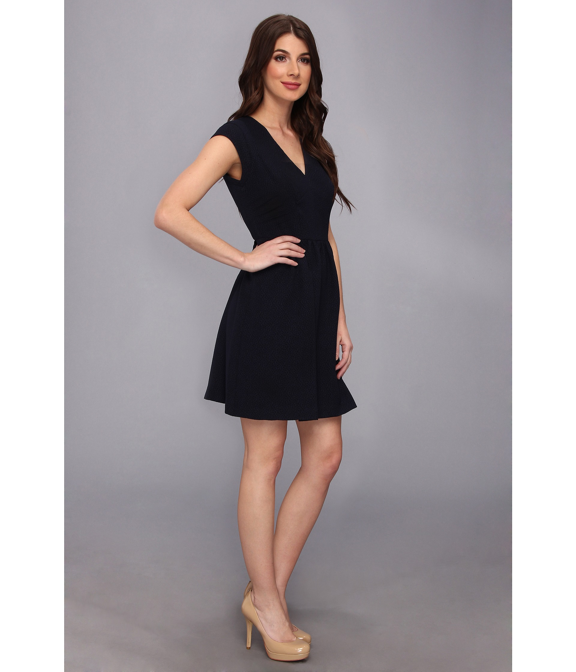 Rebecca Taylor Short Sleeve Texture Crepe Vneck Dress In