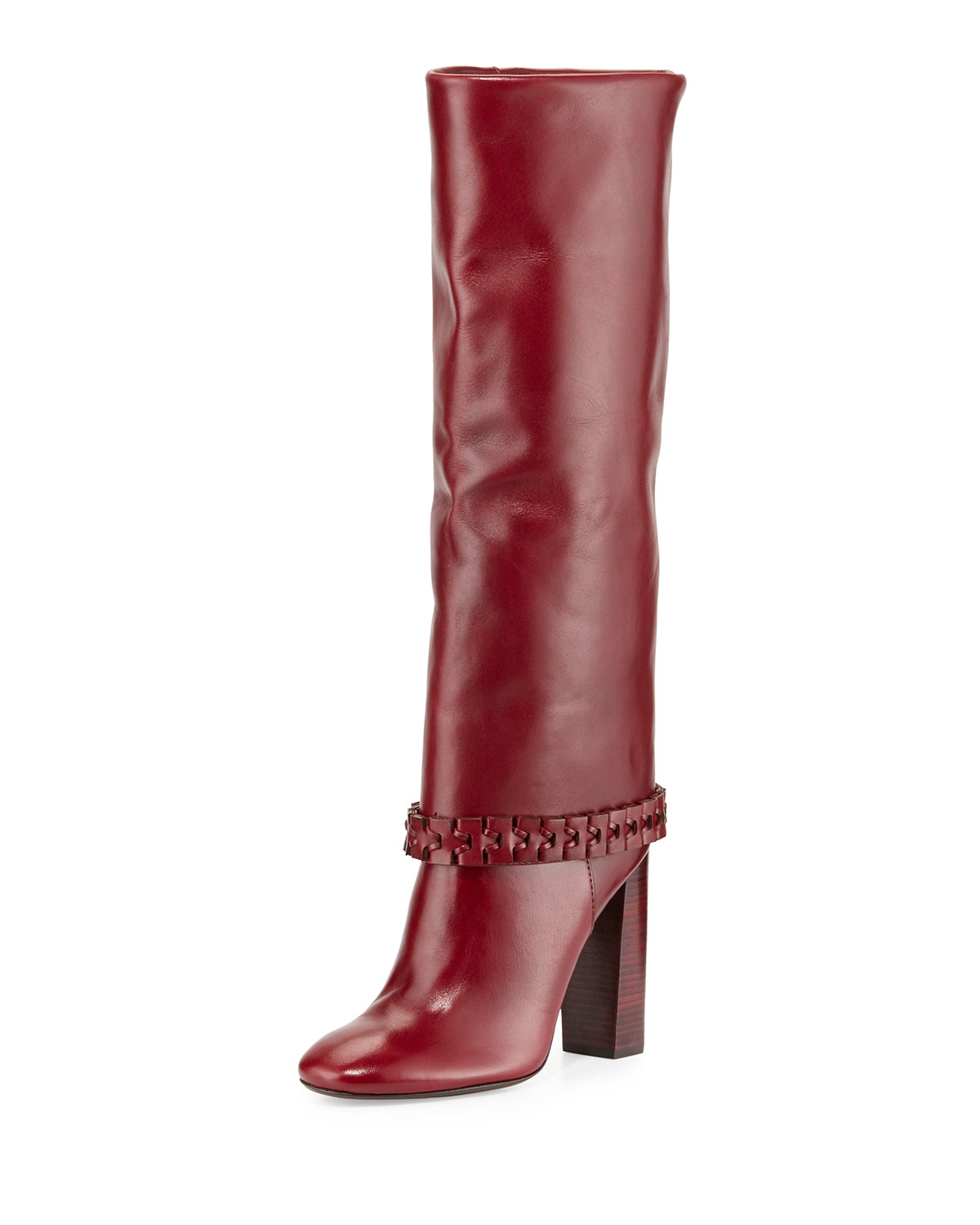 a63b21480e08 Stand tall in leather knee high boots like Lady Gaga. Tory Burch Sarava ...