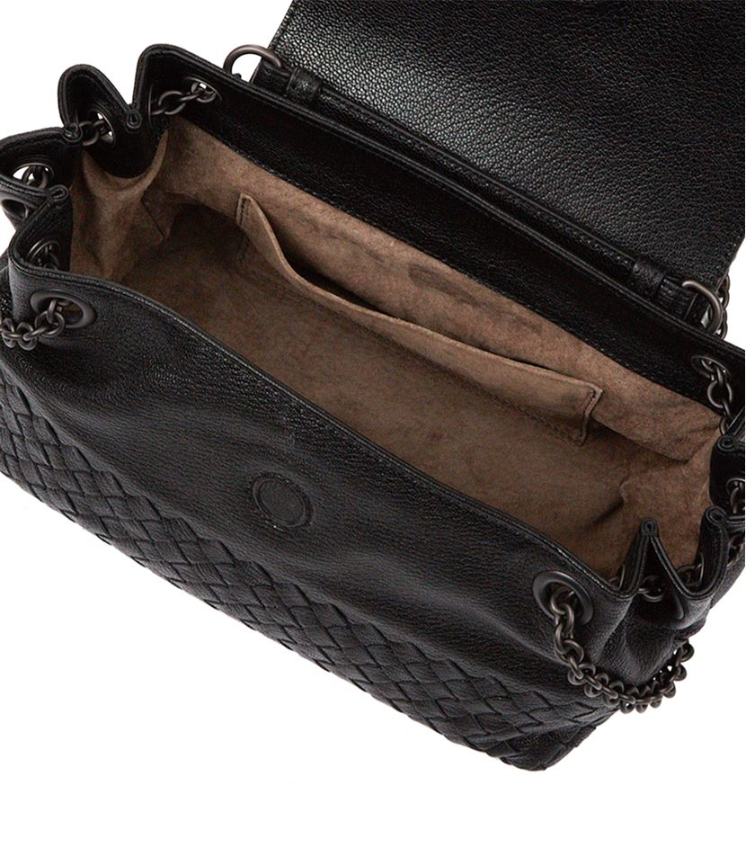 f9f02605c360 Bottega Veneta Small Madras Shoulder Bag in Black - Lyst