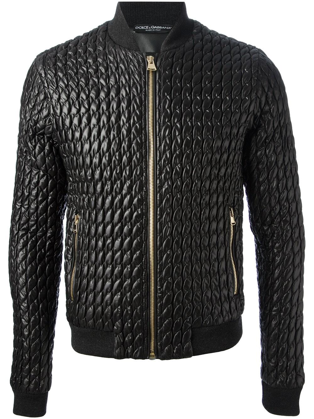 lyst dolce gabbana quilted jacket in black for men. Black Bedroom Furniture Sets. Home Design Ideas