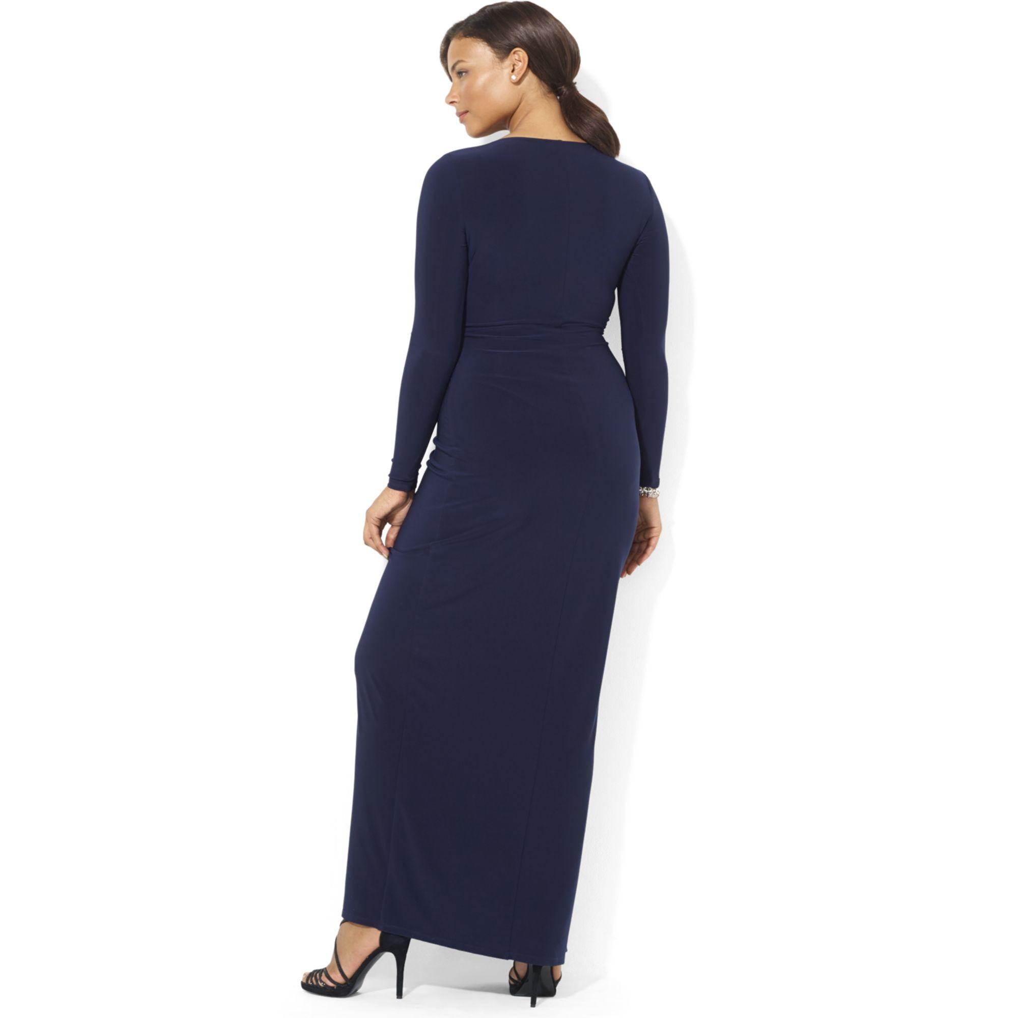 Lyst - Lauren By Ralph Lauren Long-sleeve Jersey Gown with Brooch in ...