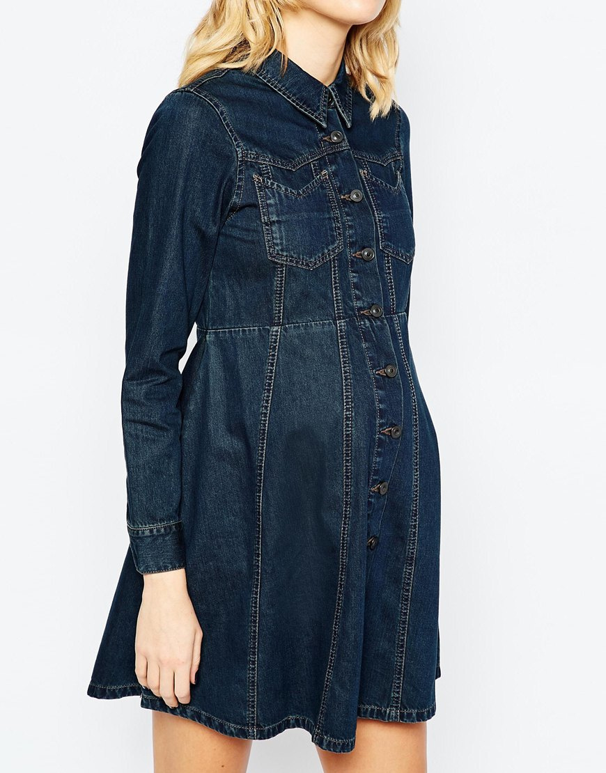 Lyst asos denim western shirt dress with flippy skirt blue in blue ombrellifo Gallery