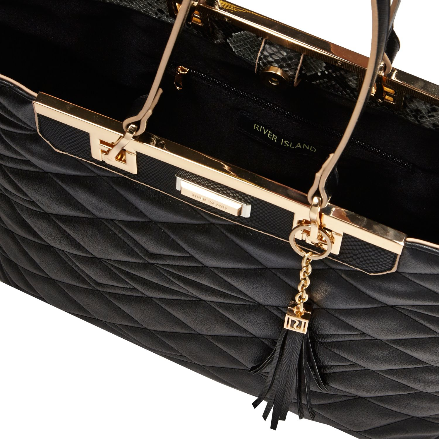 Lyst River Island Black Quilted Tote Handbag In Black