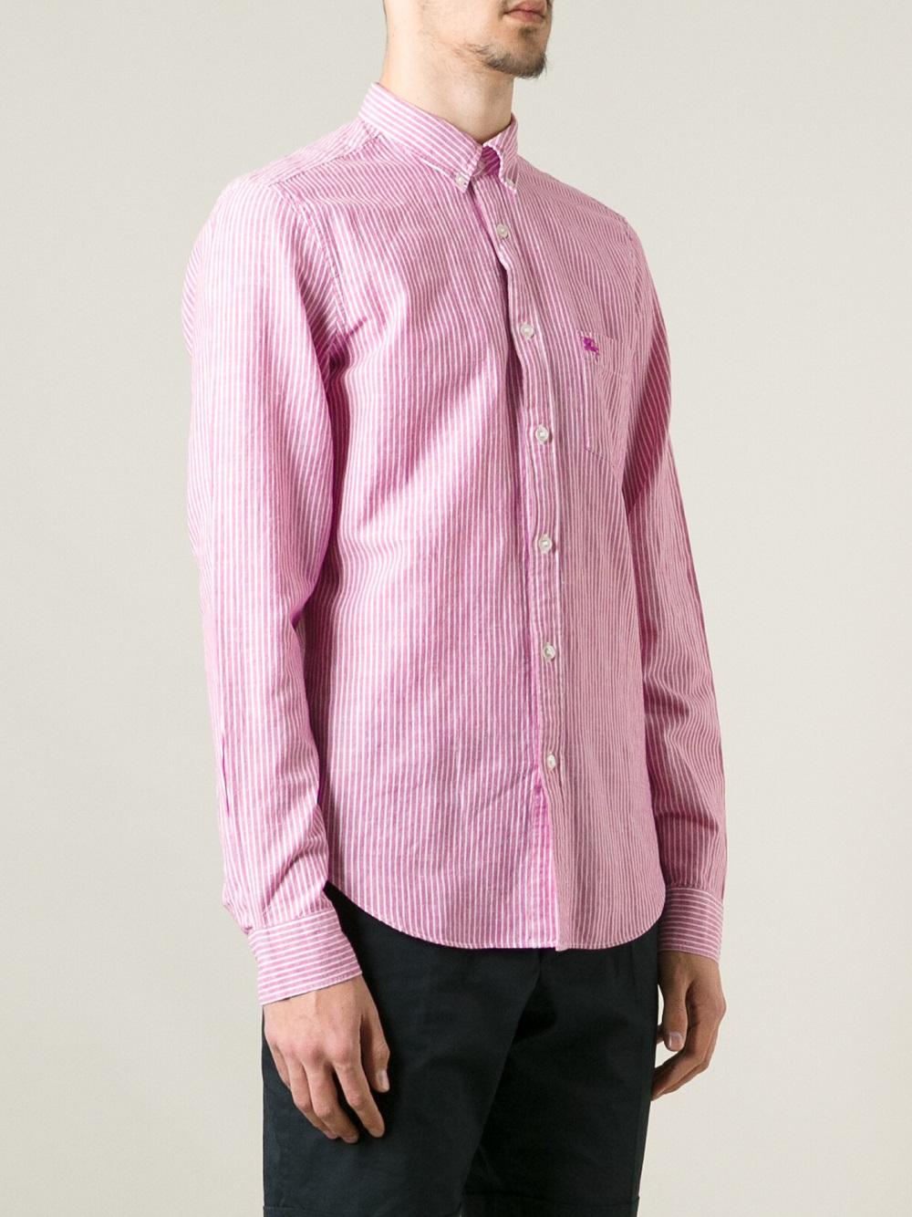 da4de4e7 Burberry Brit Striped Button Down Shirt in Pink for Men - Lyst