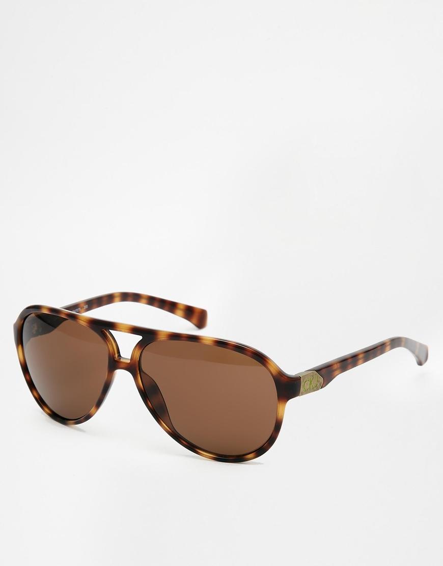 0052a09078e9 Lyst - Calvin Klein Ck Jeans Aviator Sunglasses in Brown for Men
