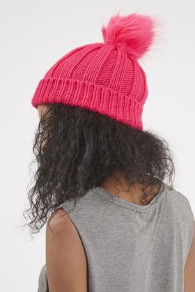 a8653218c1b Lyst - TOPSHOP Faux Fur Pom Beanie Hat in Pink