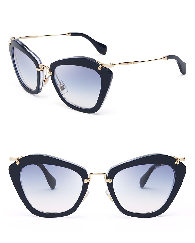 e3332873b54 Miu Miu Glitter Cat Eye Sunglasses in Blue - Lyst