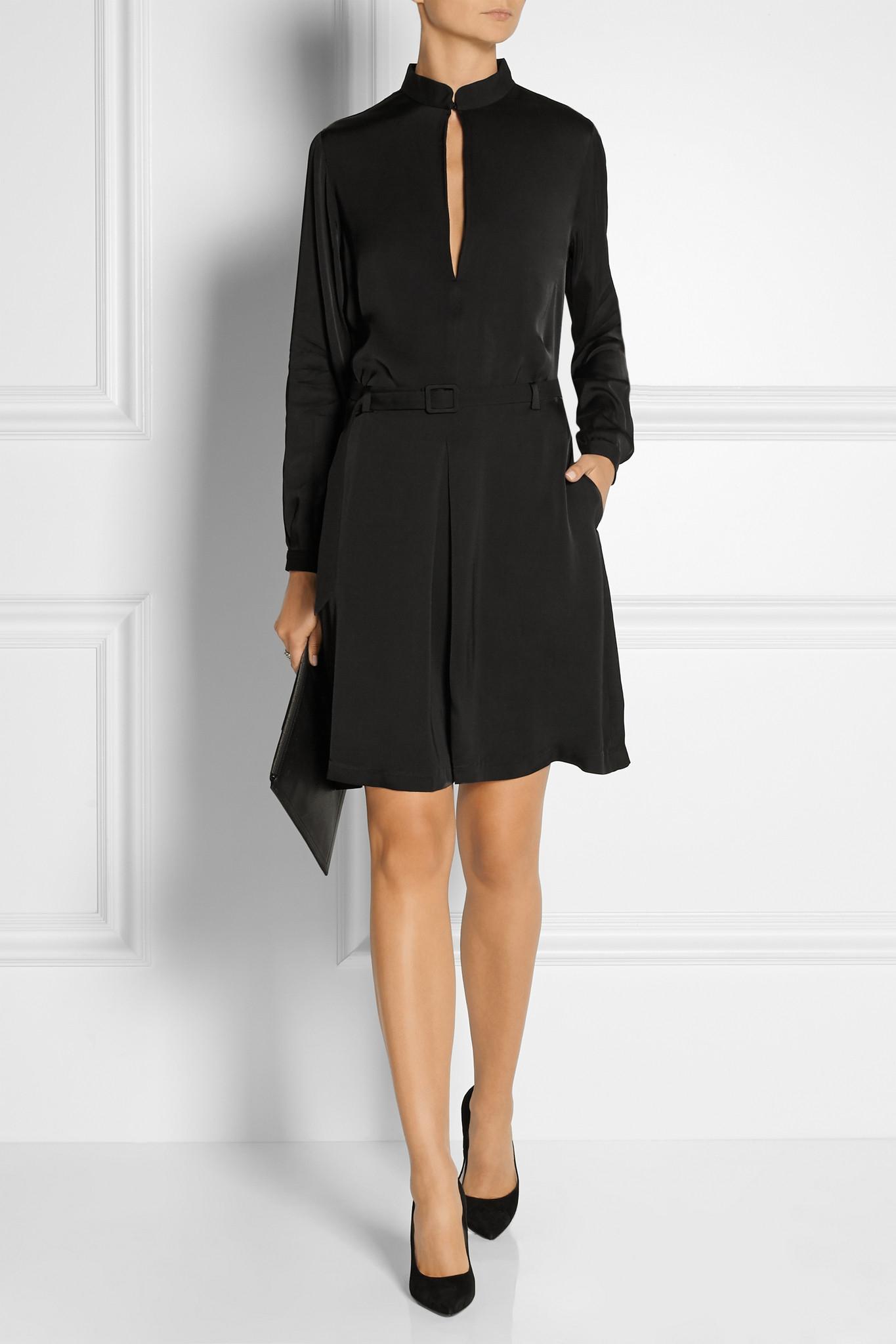 tot 234 me murau belted satin dress in black lyst