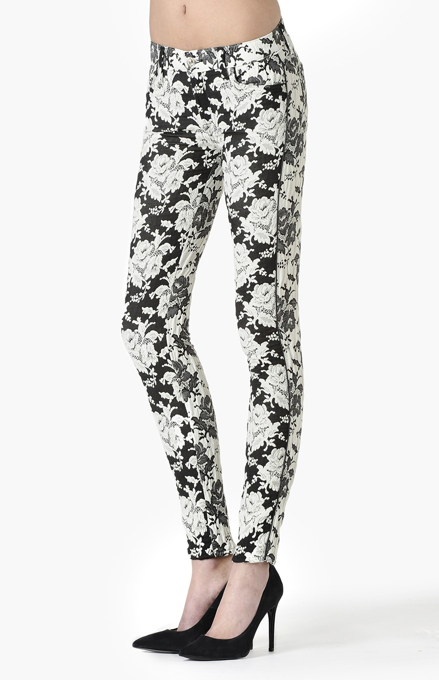 7 for all mankind high rise skinny floral jeans in black lyst. Black Bedroom Furniture Sets. Home Design Ideas