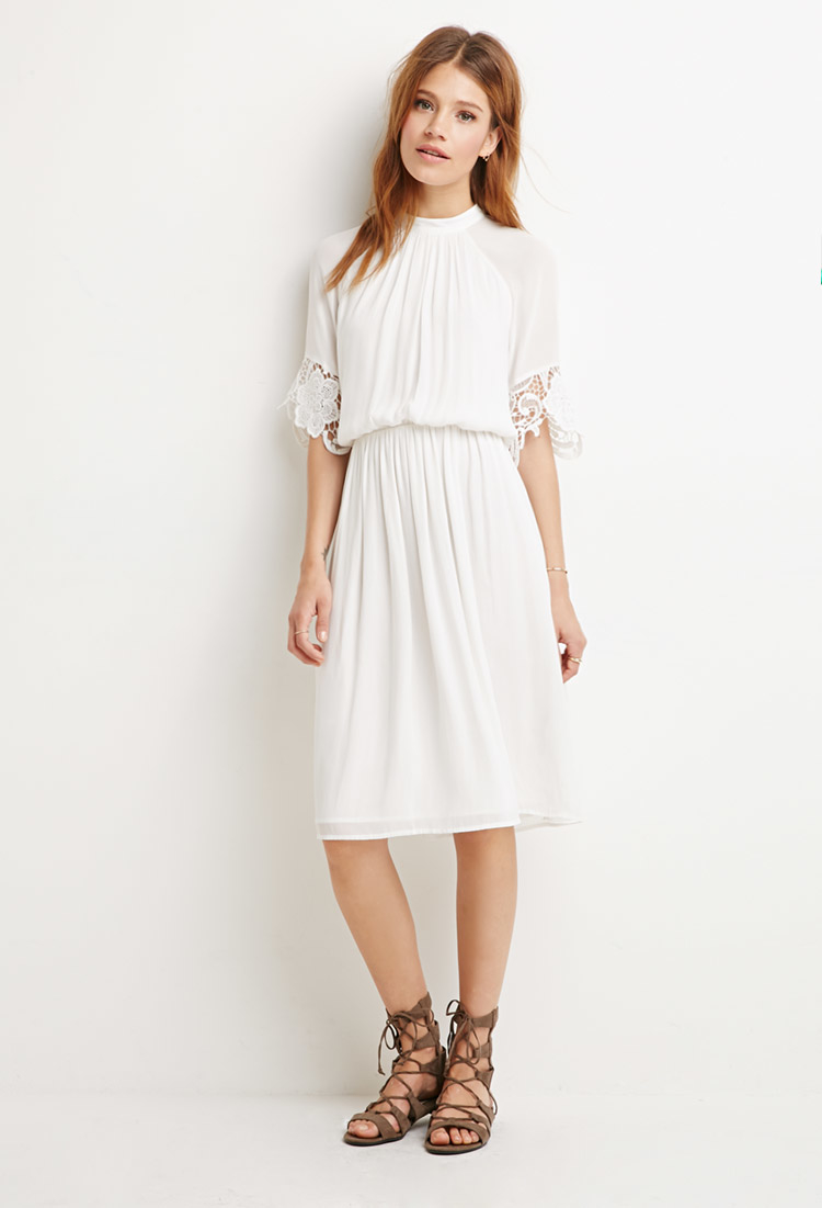 Lyst Forever 21 Contemporary Crochet Trim Dress In White