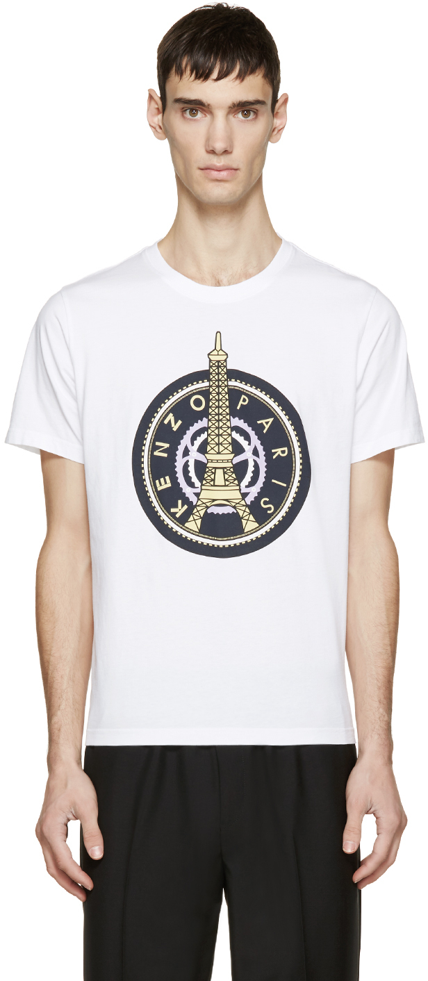 kenzo white eiffel tower t shirt in white for men lyst. Black Bedroom Furniture Sets. Home Design Ideas