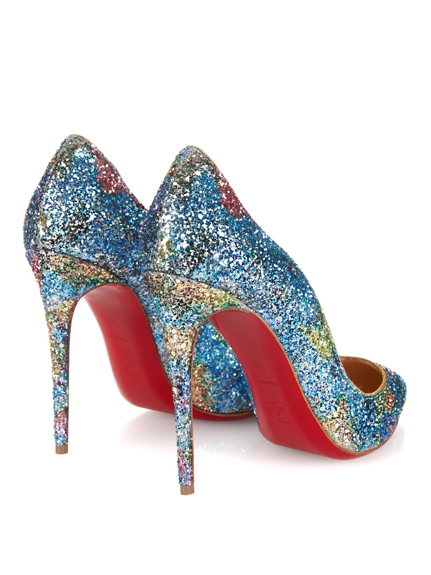 christian louboutin pigalle blue glitter pumps