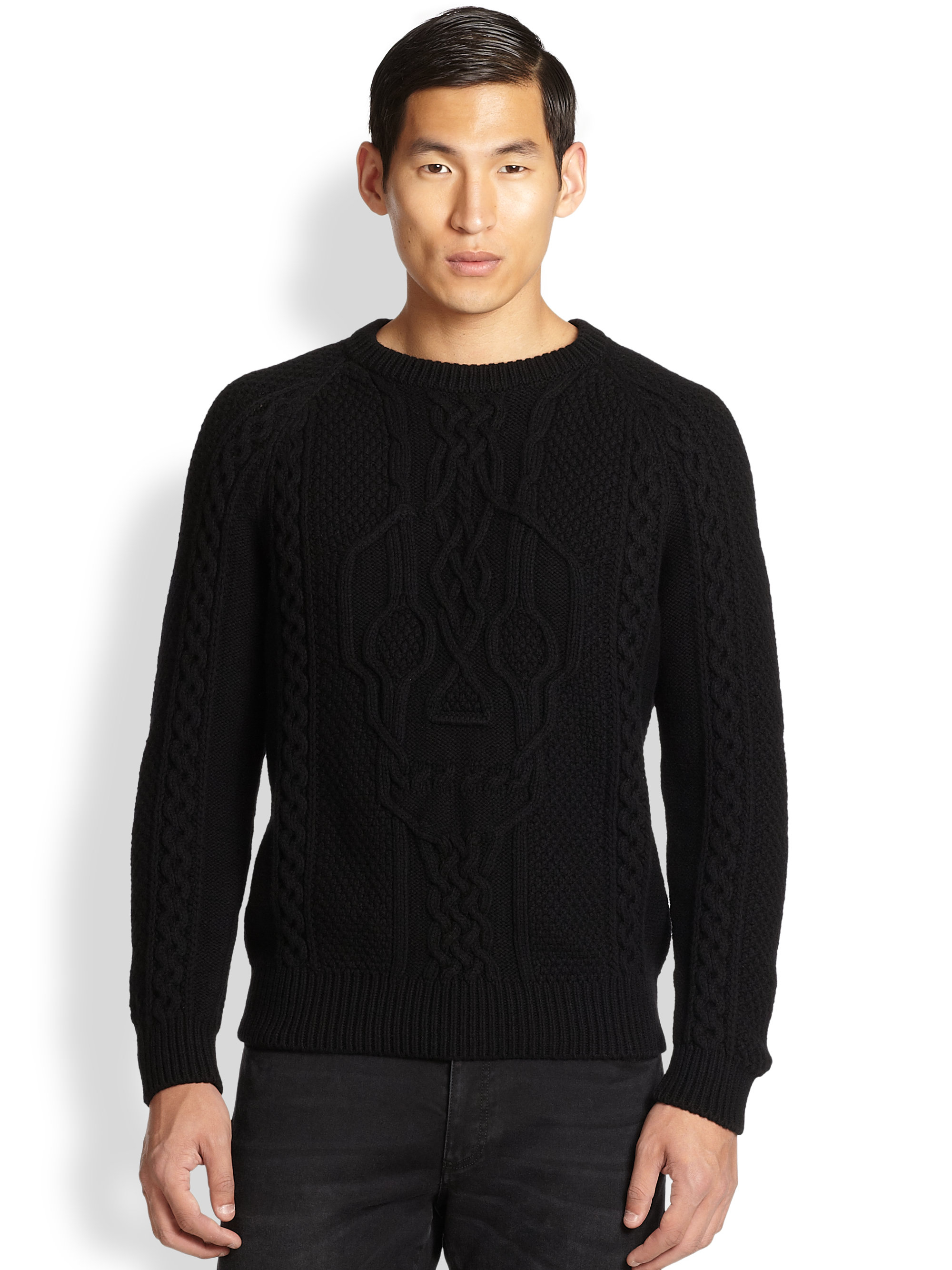 Lyst Alexander Mcqueen Skull Cable Knit Sweater In Black For Men