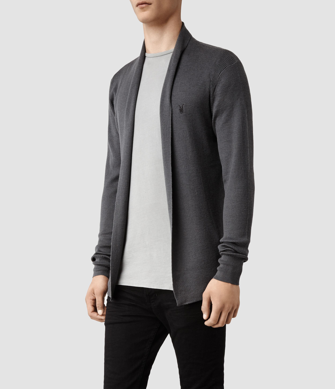 Allsaints Mode Merino Open Cardigan in Gray for Men | Lyst