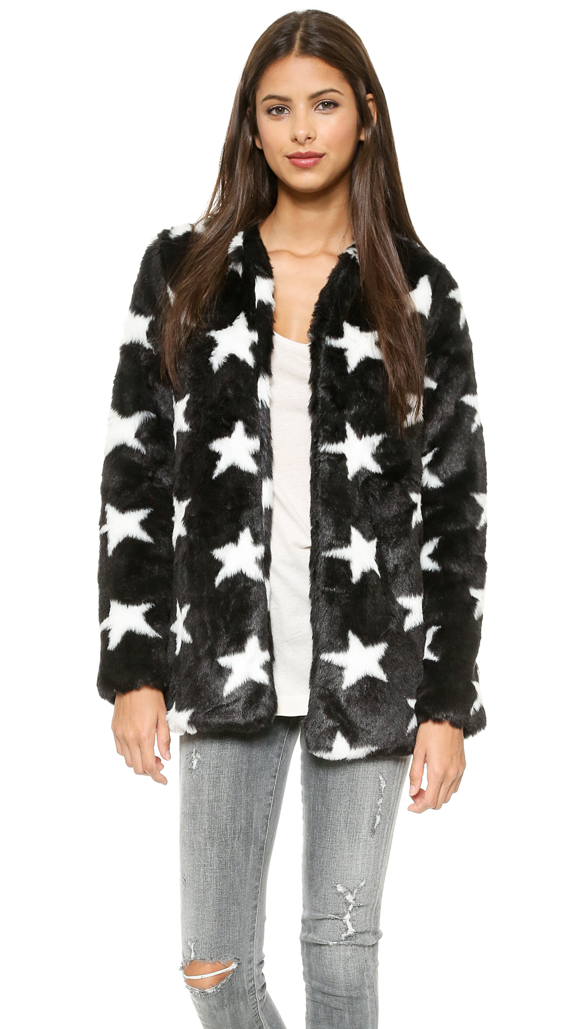 Re:named Star Faux Fur Coat - Black/White in Black | Lyst