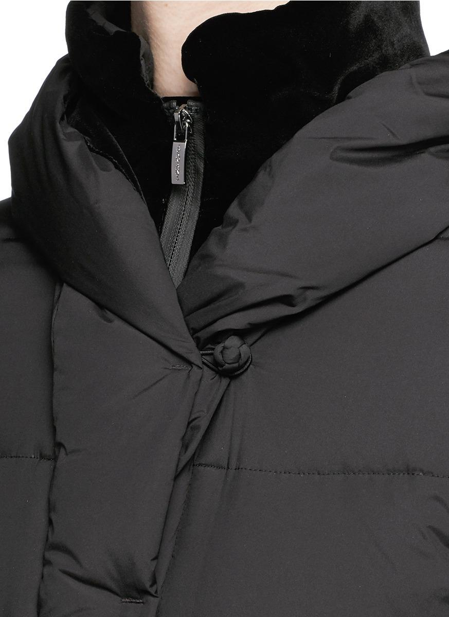 Armani Velvet Trim Long Puffer Down Coat In Black Lyst