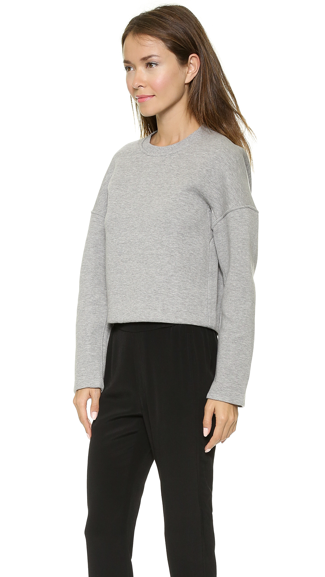 lyst t by alexander wang neoprene crew neck sweatshirt. Black Bedroom Furniture Sets. Home Design Ideas