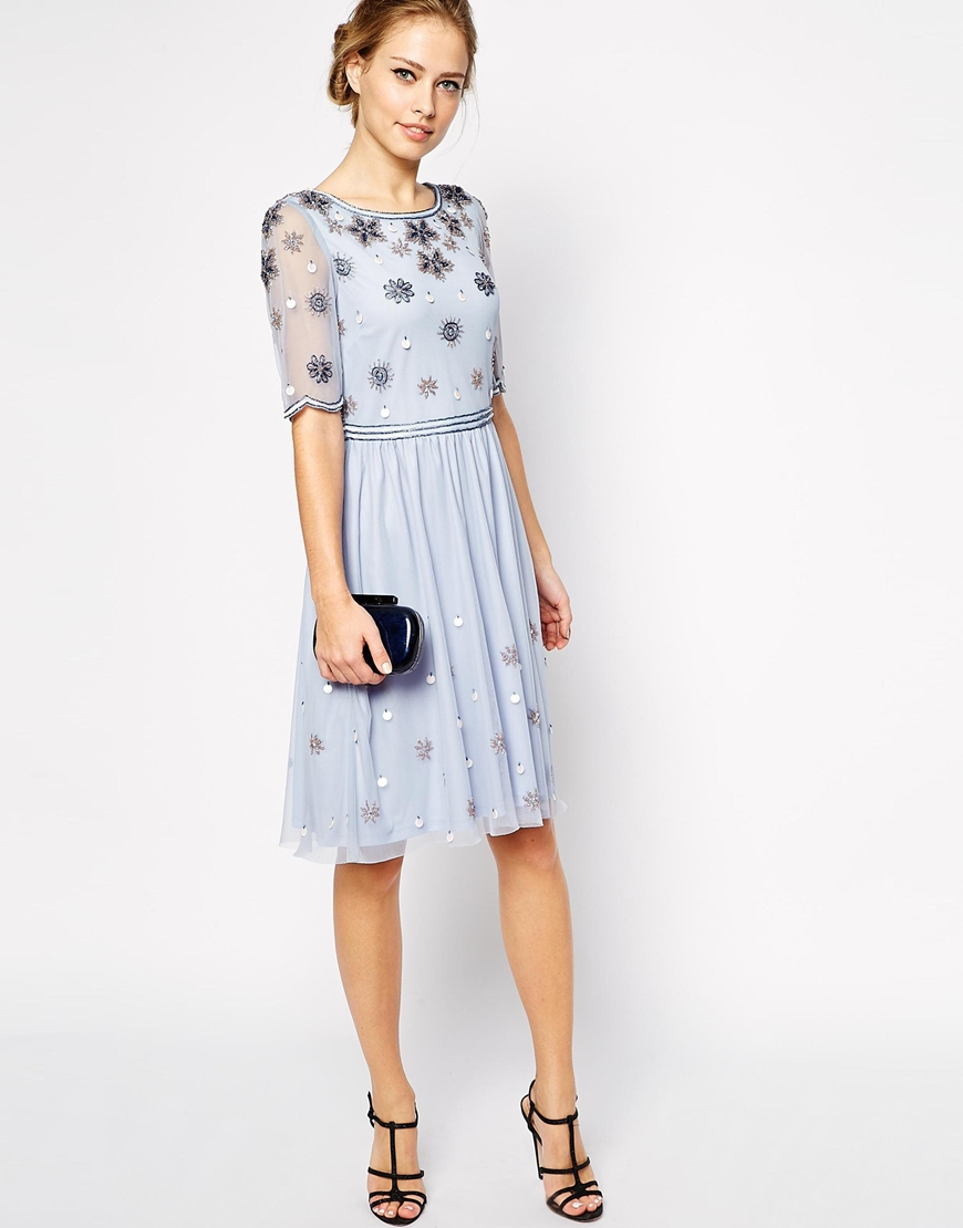 Lyst - Frock and Frill Embellished Top Skater Dress With Sleeve in Blue 053895a8b