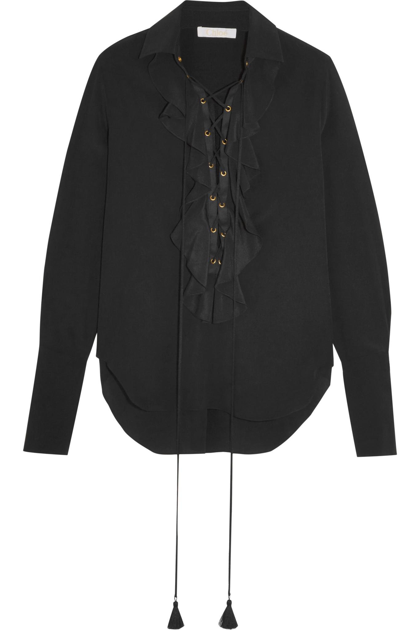 ffab73612cc3c Chloé Chloé Ruffled Silk Crepe De Chine Blouse in Black - Lyst