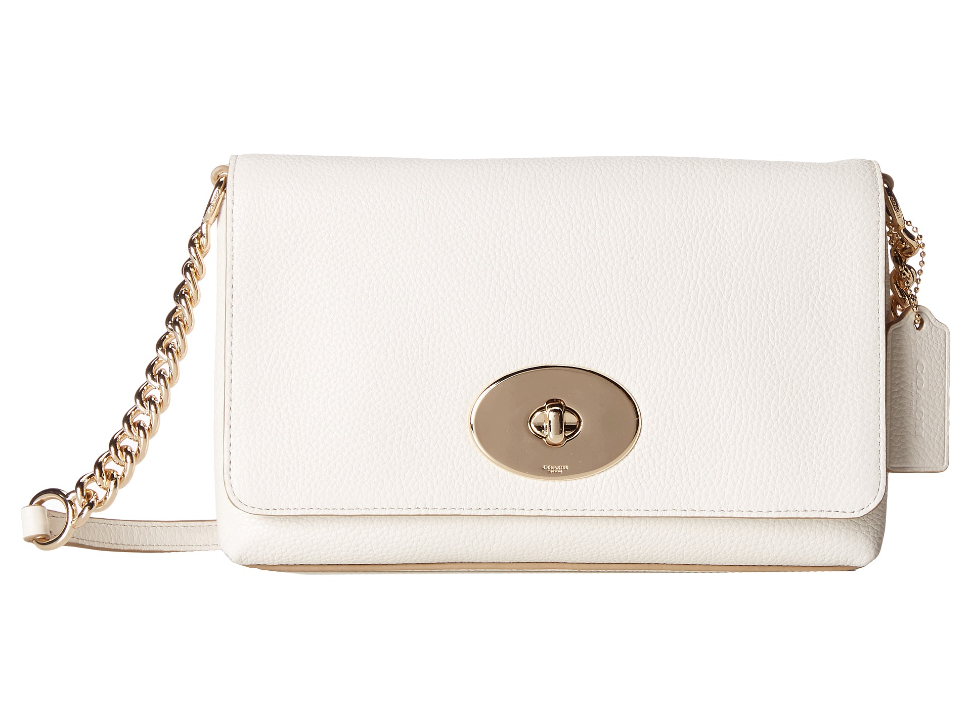 4b1503db COACH Polished Pebble Leather Crosstown Crossbody in White - Lyst