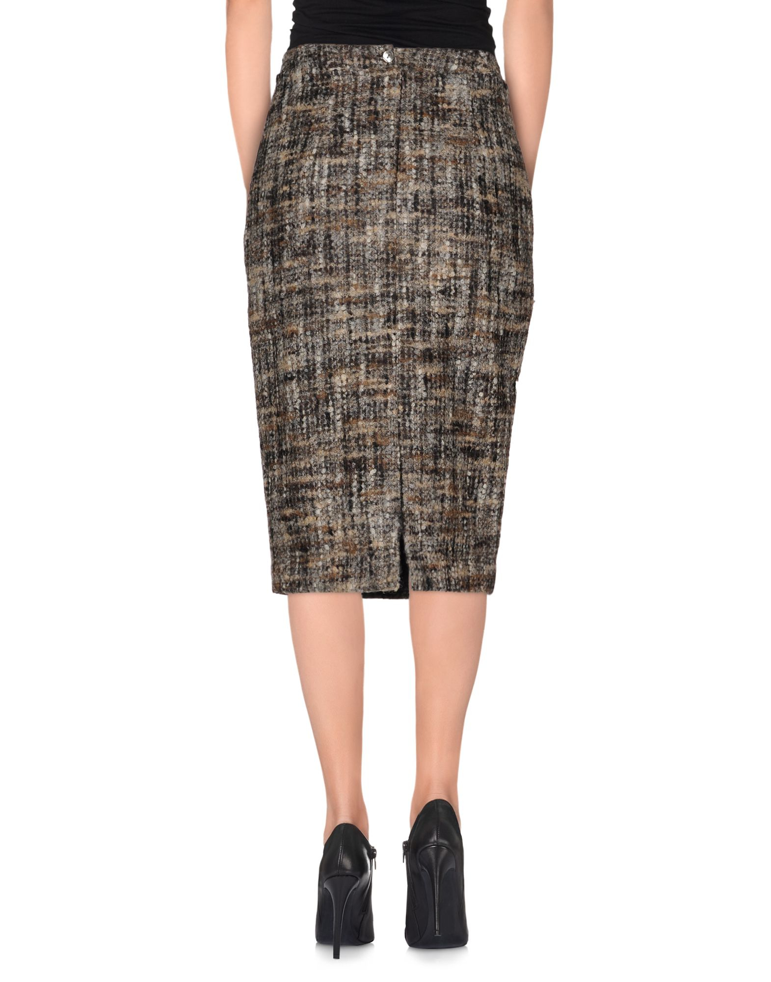 stella jean knee length skirt in gray lyst