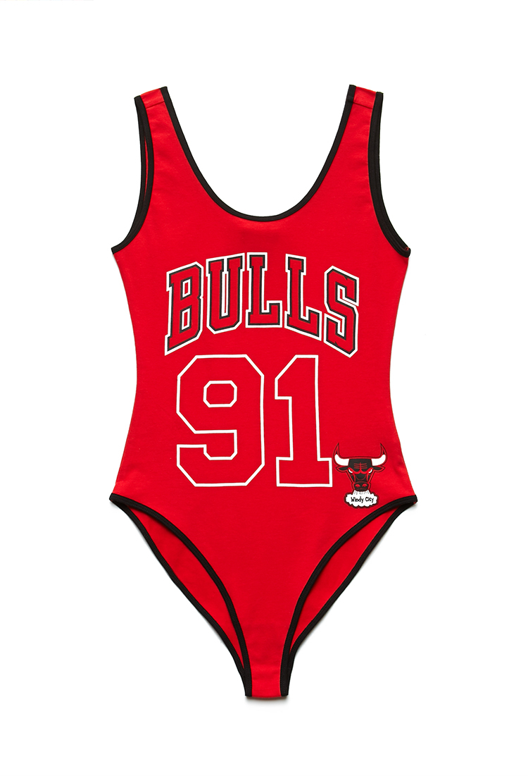 8681b6cb385ba9 Lyst - Forever 21 Chicago Bulls Bodysuit in Red