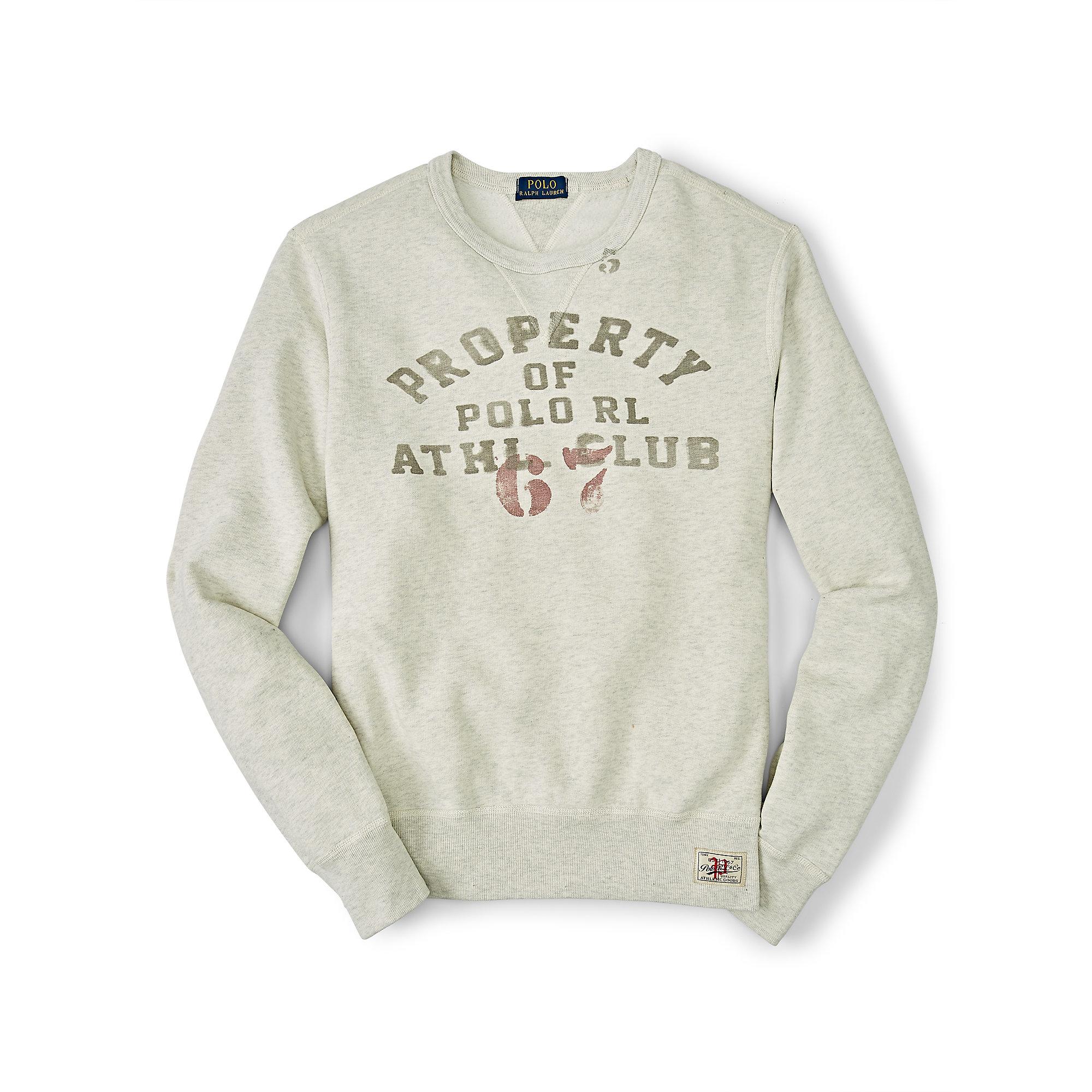 7bf313c786c1 Lyst - Polo Ralph Lauren Cotton-blend-fleece Sweatshirt in Natural ...