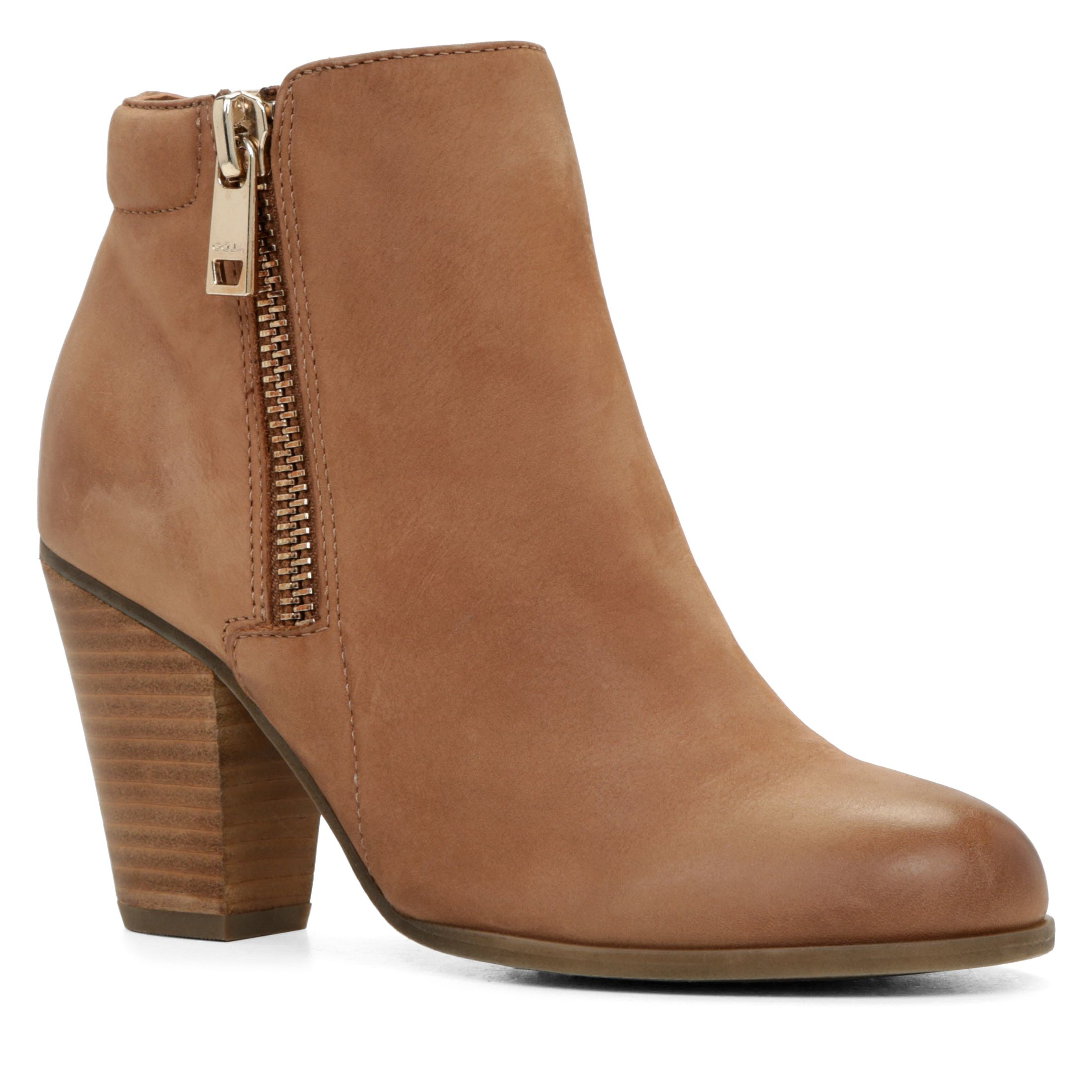 aldo janella zip ankle boots in brown lyst