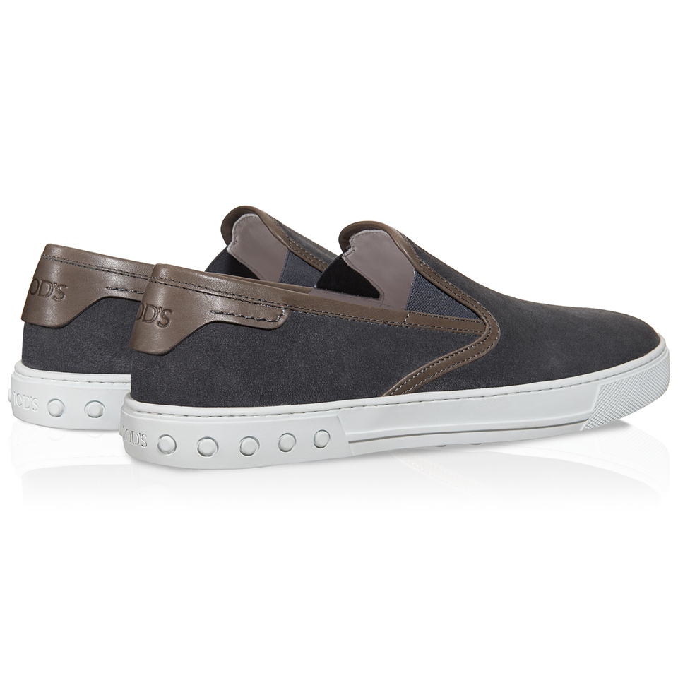 tod s slip on shoes in suede in gray for lyst