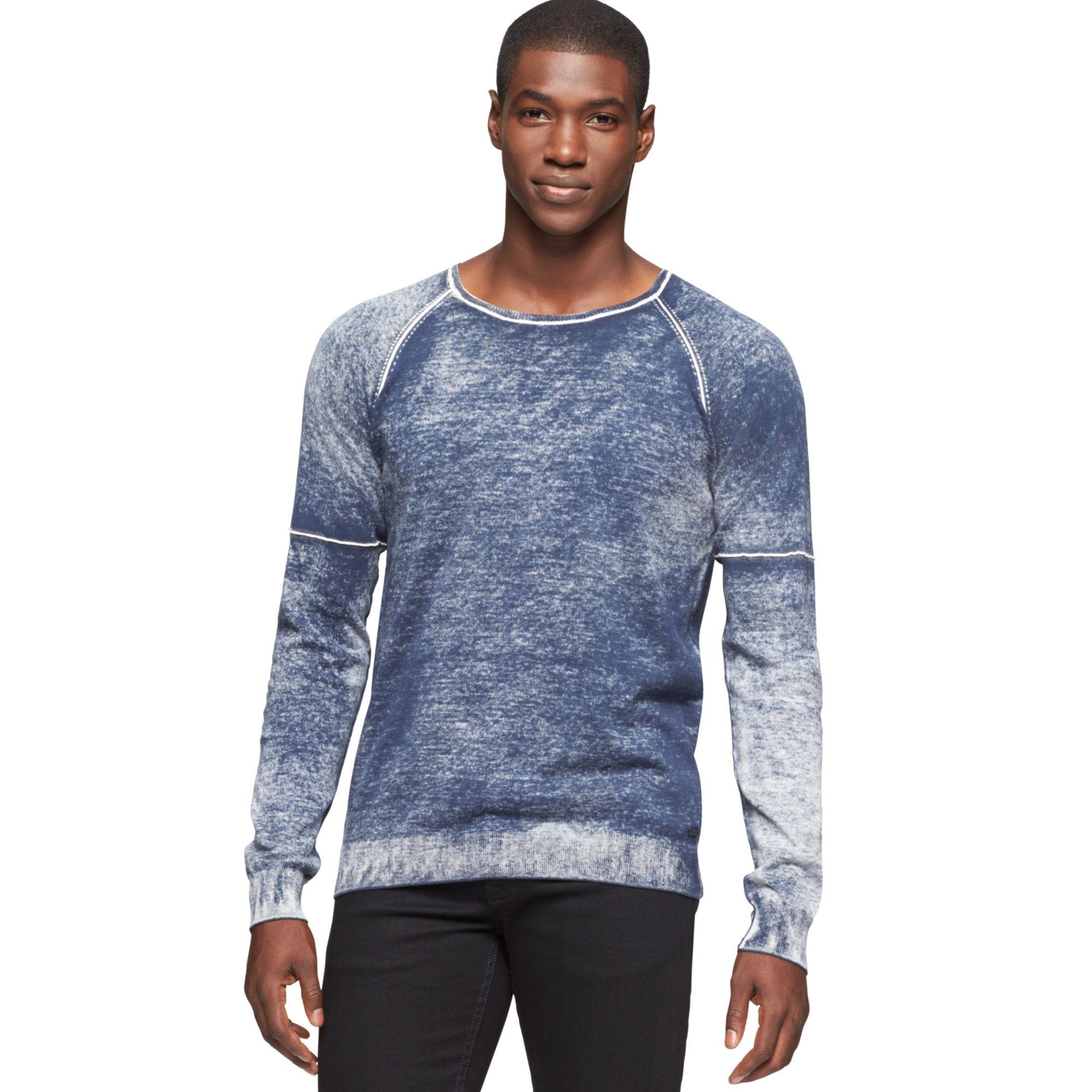 calvin klein jeans faded wash sweater in blue for men. Black Bedroom Furniture Sets. Home Design Ideas
