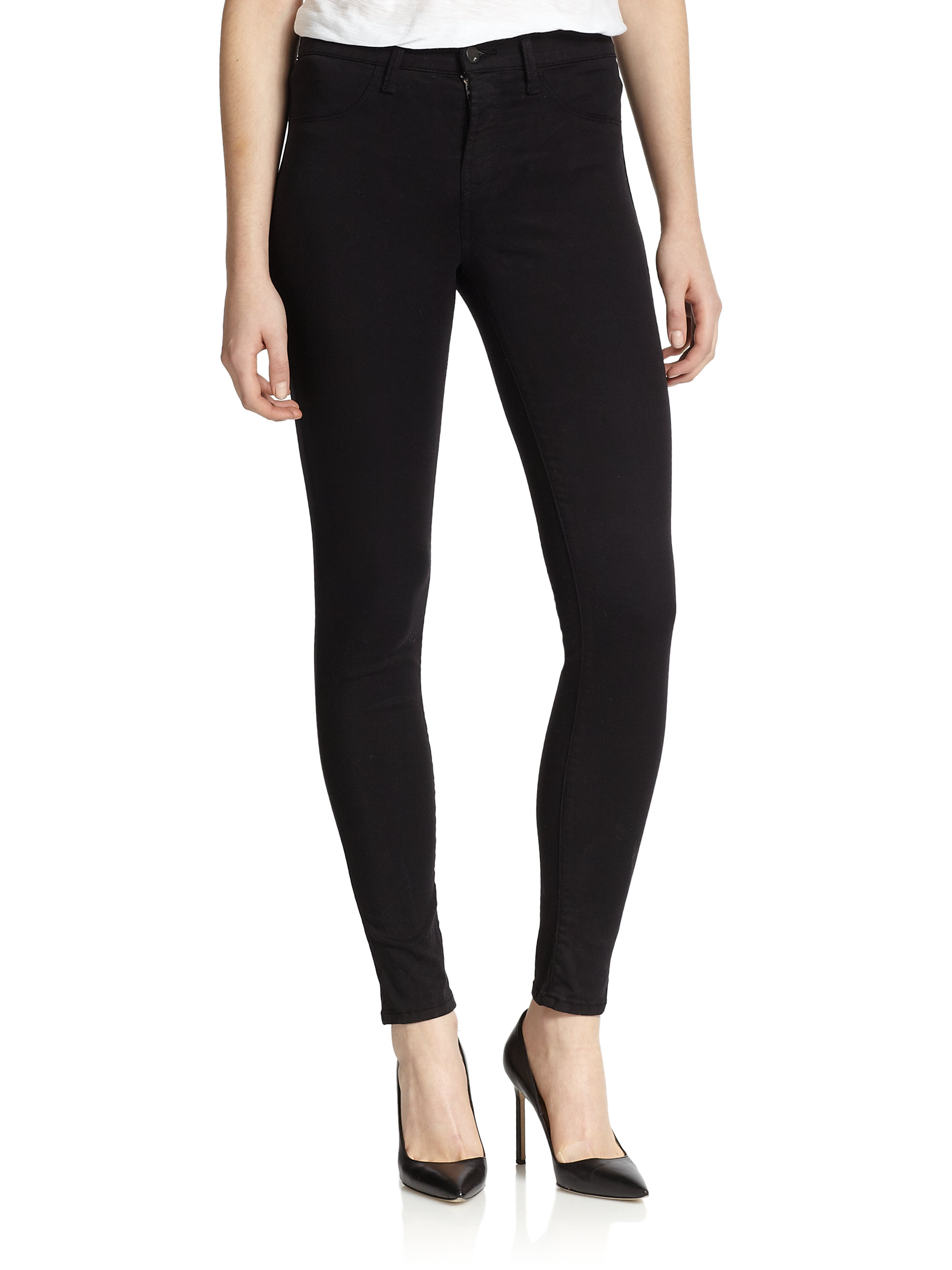 Lyst J Brand Maria High Rise Luxe Sateen Skinny Jeans In