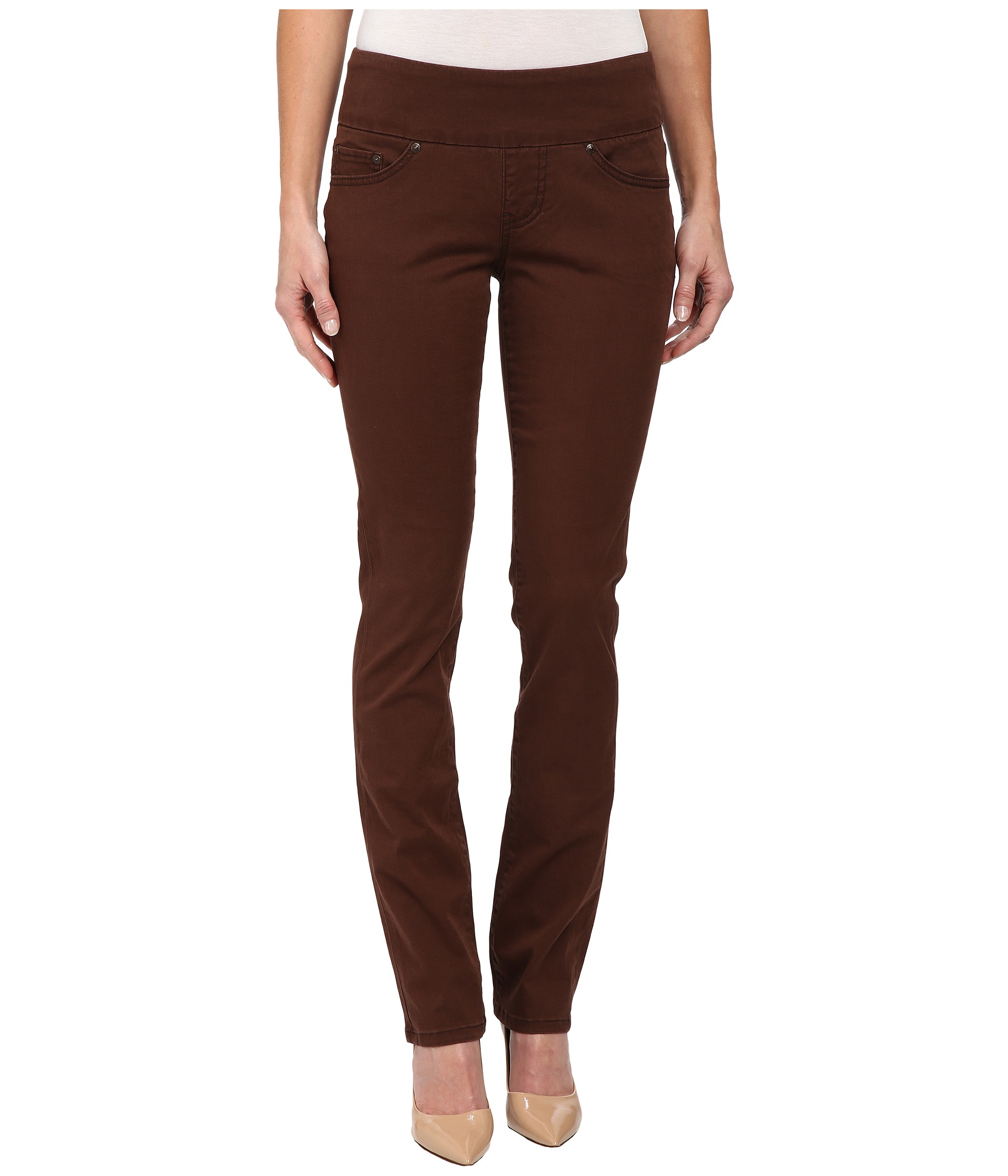 Jag jeans Peri Pull-on Straight Bay Twill in Brown | Lyst